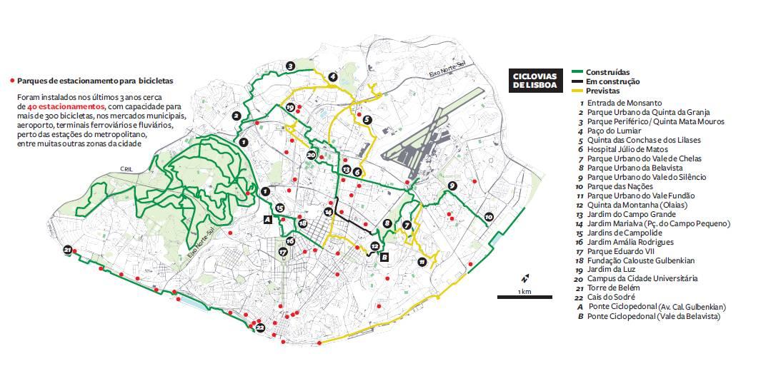 lisboa ciclovias mapa Ciclovias de Lx. Pelo Corredor Verde de Monsanto. | kmepalavras lisboa ciclovias mapa